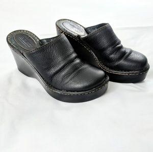 Born Black Leather Wedge Heel Slip On Clogs / Mule
